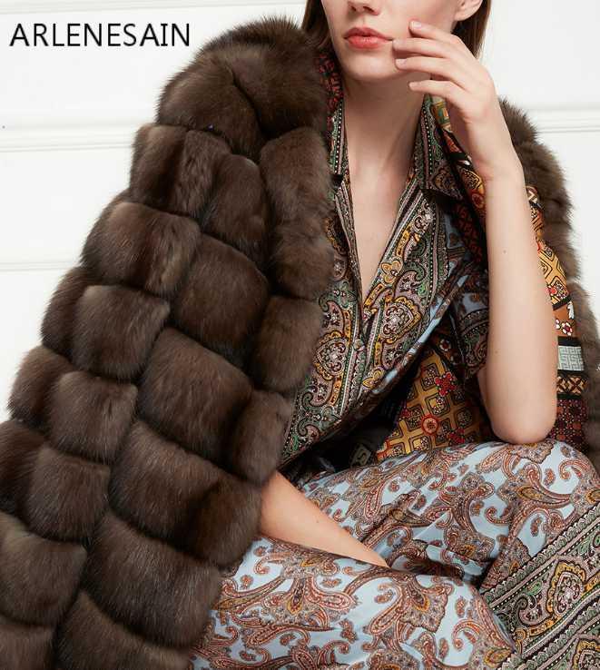 Furma damska Faux Arlenesain Kobiety Mink Sable Krótki brązowy płaszcz z skórą Cap