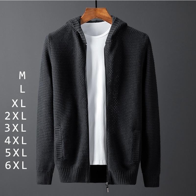 Plus Size Casual Solidne Kurtki swetra dzianiny Mężczyźni Zipper Czarny Koreański Swetry Kapturze Kieszenie Kartaż Hombre Cremalera Zima 201009