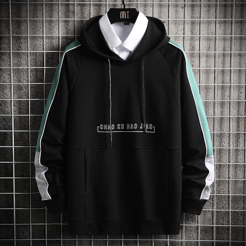 Hommes Hoodies Hommes 2020 Automne Side Rayé Sweat-shirt japonais Streetwear Harajuku Casual Noir Sweat à capuche pour hommes