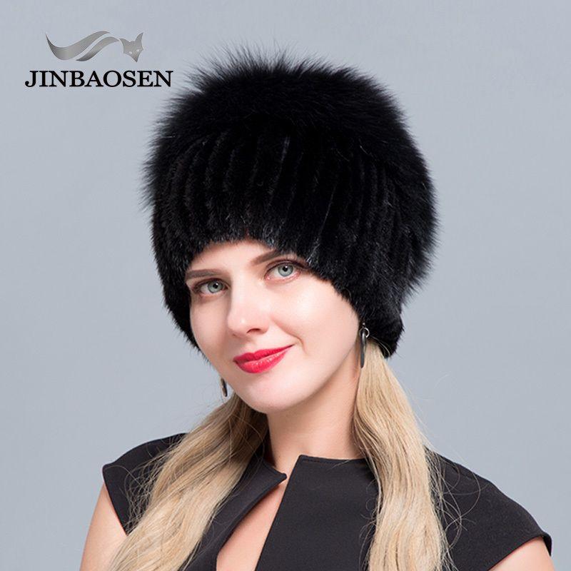 vente chaude JINBAOSEN chapeau de fourrure russe loutre de renard combiné avec ski de fourrure doublure en laine tricoté chapeau de mode de fourrure hiver femme chapeau 201021
