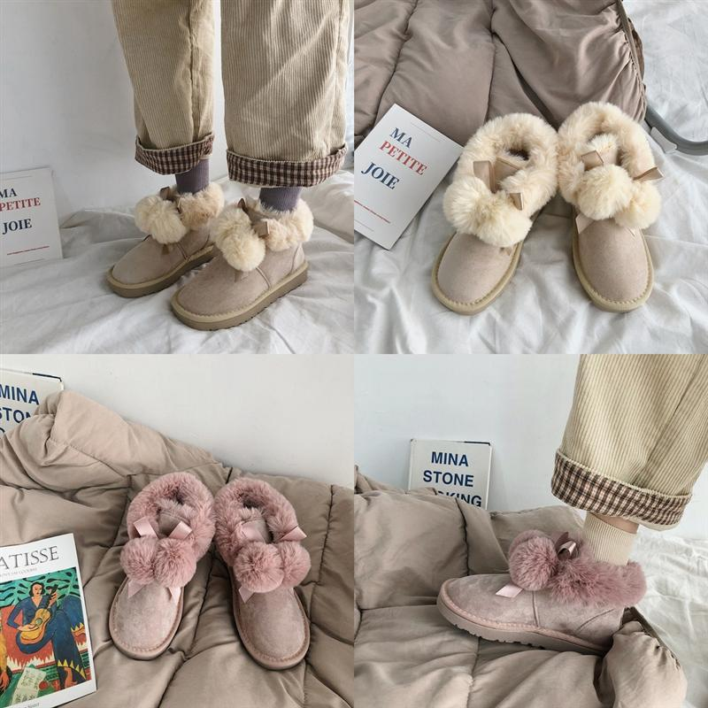 nps9c mujeres botas de nieve triple castaño negro marrón azul marino azul invierno beige moda clásico tobillo bota corta botines botines zapatos rojos Cap