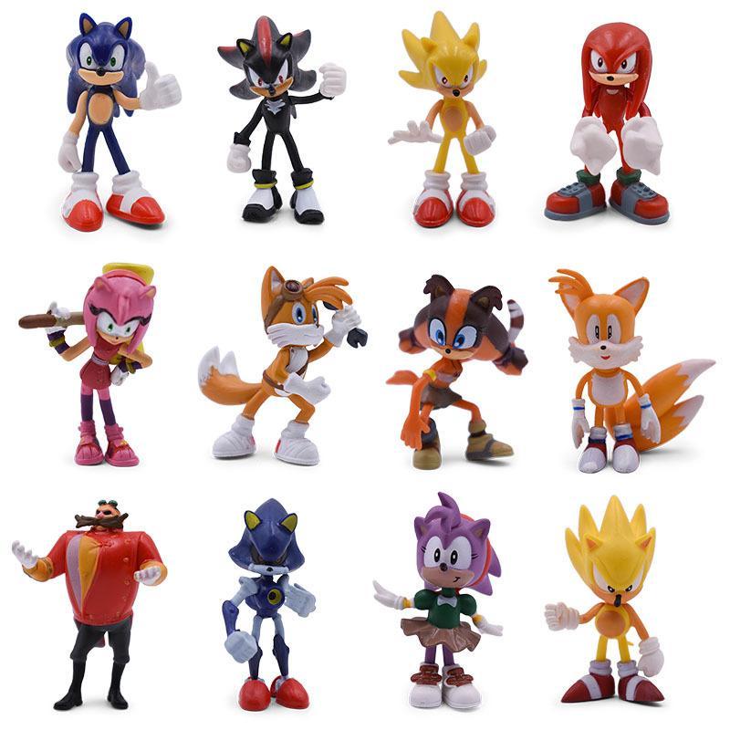 7 Набор Sonic Мультфильм ПВХ Действие Рисунок Игра Sonic Shadow Amy Rose Knuckles Хвосты Коллекционные Модель Кукла Игрушки Подарок для детей LJ200924
