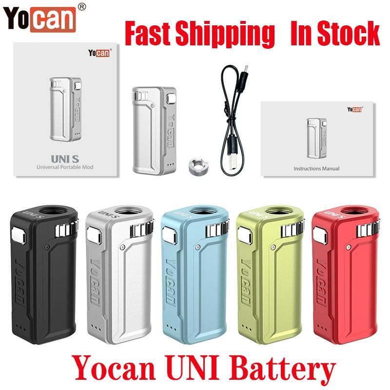 (510) 자기 두꺼운 기름 카트리지 100 % 정통 오리지널 Yocan UNI S 상자 모 변수 전압 예열 VV 400mAh 배터리 Vape Ecigs