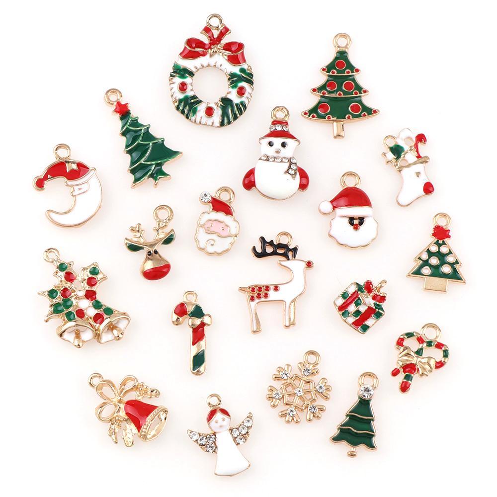 10PC عيد الميلاد الديكور سبائك معادن عيد الميلاد ثلج الأيائل ديكور مجموعة عيد الميلاد قلادة معلق عيد الميلاد الحلي 2020 دي إتش إل الحرة