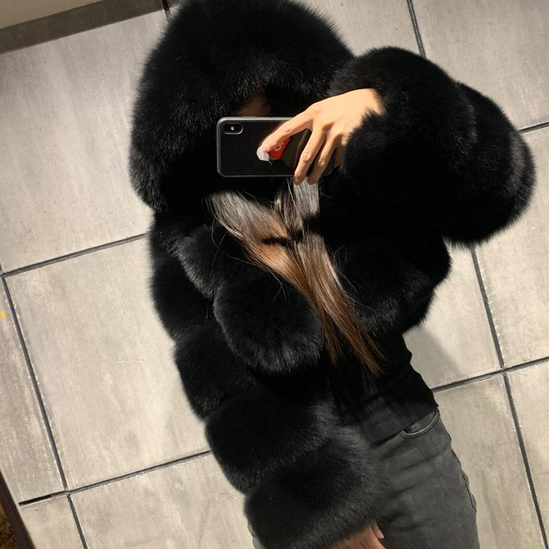 High Quality Furry Cropped Faux Fur Coats and Jackets Women Fluffy Top Coat with Hooded Winter Fur Jacket manteau femme 201016