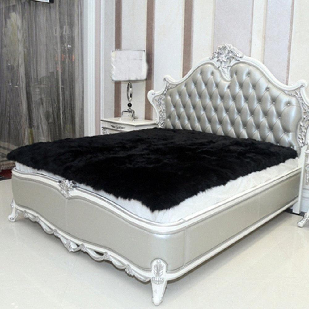 Noir imitation peau de mouton Tapis en fausse fourrure Couverture de décoration Couvertures artificielles Tapis de sol Tapis et Moquettes pour le salon de la fourrure Tapis de voiture hSW5 #