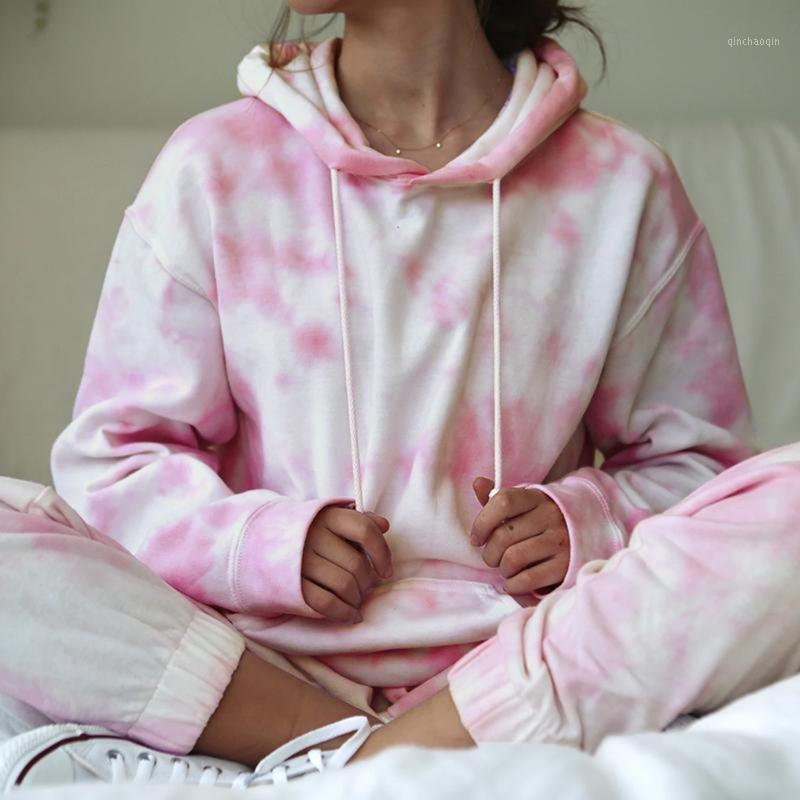 Traje deportivo para mujer con capucha rosa tinte manga larga pantalones largos pantalones casuales traje de dos piezas traje de traje para dama # 31