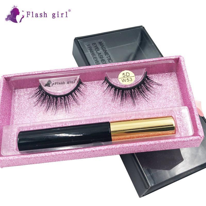 series girl flash 5D-W W 53 boa qualidade de vison pestanas magnéticos e terno delineador