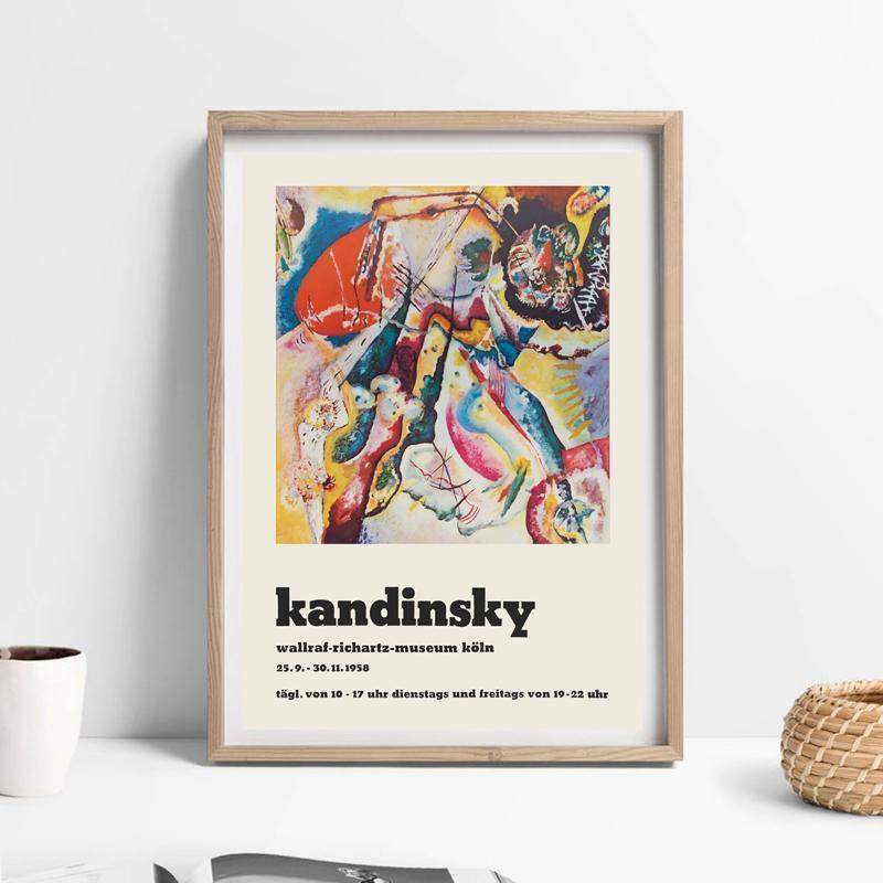 Francés Wassily Kandinsky Art Lienzo Impresión abstracta Pintura de mediados de siglo Moderno Modern Wall Art Picture Exhibition Poster Decor