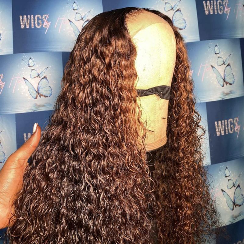 Ombre brasileña onda de agua peluca para mujeres Negro 150% 13x6 Densidad del frente del cordón del encierro del cordón PrePlucked Brown peluca con el pelo del bebé