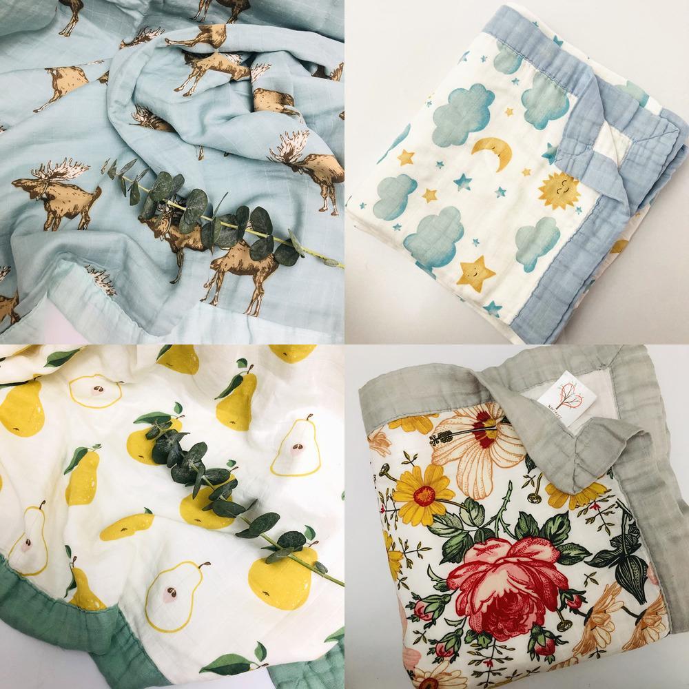 Quatro camadas Bambu Baby Muslin Cobertor Muslin Tree Swaddle Melhor do que Aden Anais Baby / Bamboo Blanket Infantil Wrap W1218
