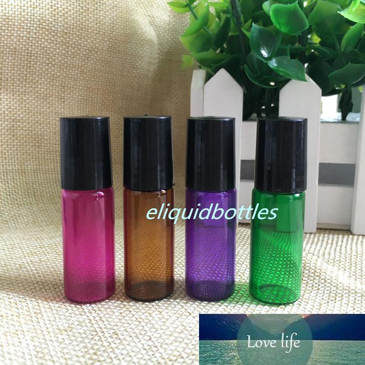 Mix 4 Colors Amber Purple Red Green 5ml Glass Roll On Bottles With Metal Roller and Black Lids for Essential Oil E Liquid