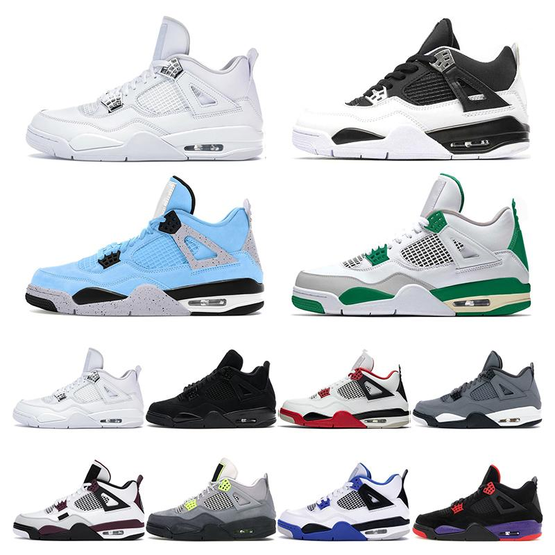 2020 mens scarpe da basket 4s jumpman 4 Blue Black Cat mens cemento denaro puro sport scarpe da ginnastica formatori Olimpiadi Fire Red Pine verde universitari