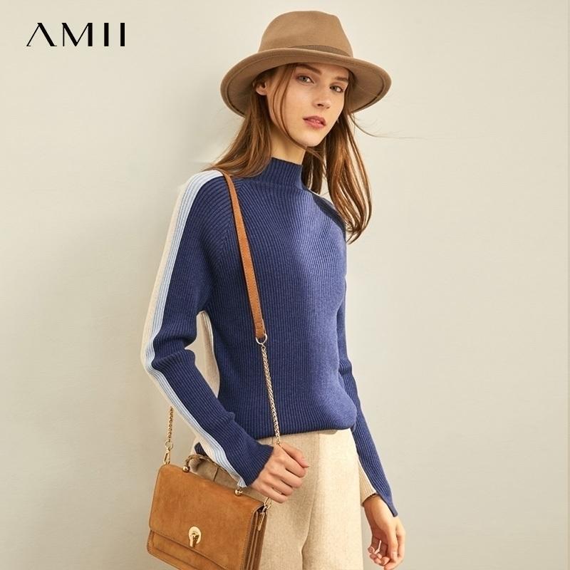 T-shirt de laine de laine pour femme AMII PRINTEMPS NOUVEAU style à l'extérieur à l'extérieur de l'ajustement du cou à cravauté 11940640 201109