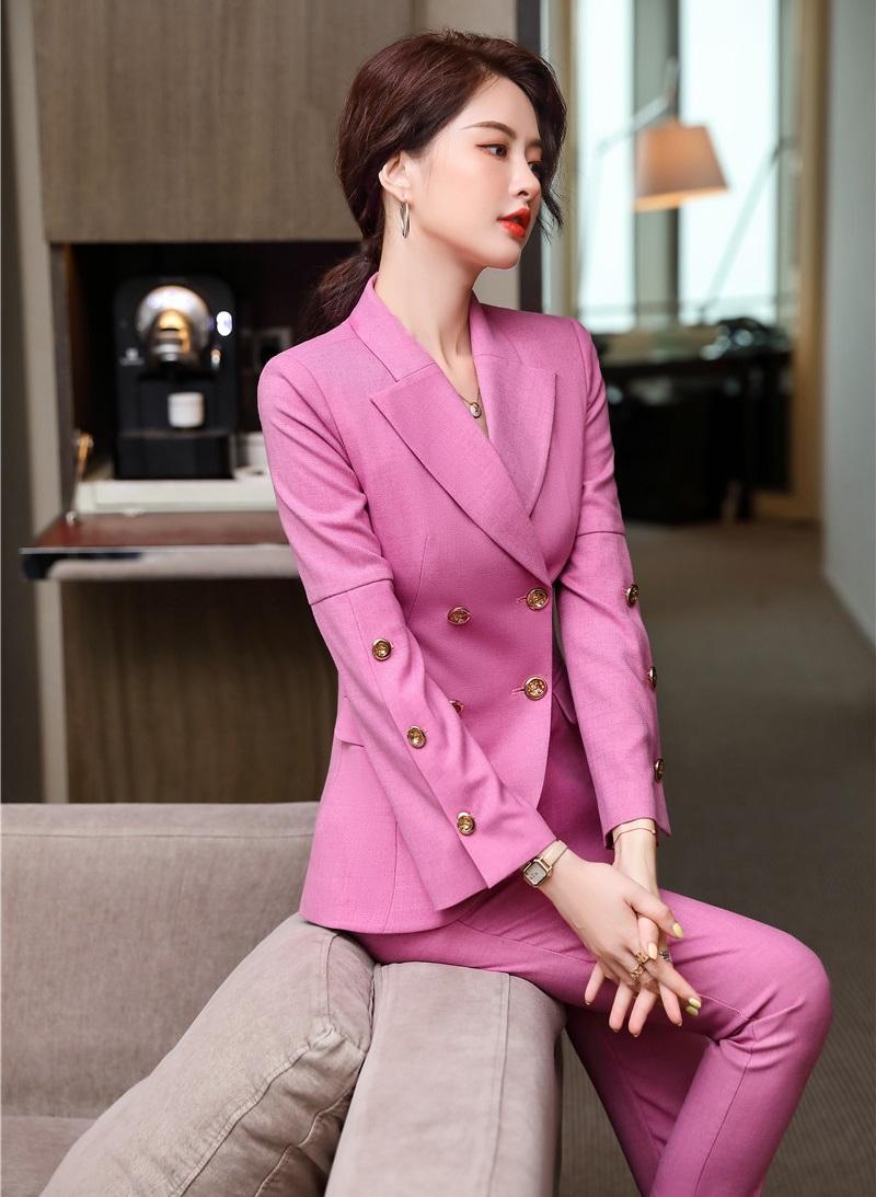 Manches longues formelles Costumes des femmes d'affaires avec des pantalons et vestes manteau dames Bureau Blazers Entretien professionnel Vêtements d'emploi