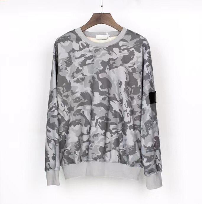 20FW bouton insigne sweat à capuche de mode pour la TopStone hommes manches longues pull-over gris streetwear pull hiver clothing-