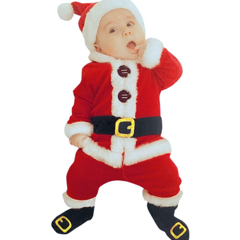 4 unids Disfraz de Navidad Bebé Bebé Ropa Conjuntos Baby Girl Santa Claus Manga Larga Tops Tops Pantalones Hat Socking Trajes para bebés para niños pequeños 201126