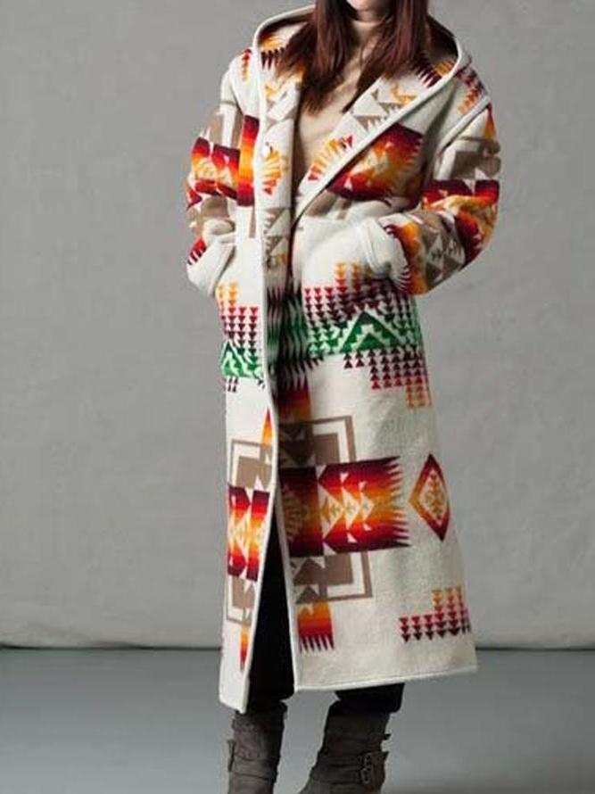 2021 Primavera Nueva Blusa impresa a mitad de la longitud europea y americana, abrigo de lana de manga larga, solapa de un solo pecho