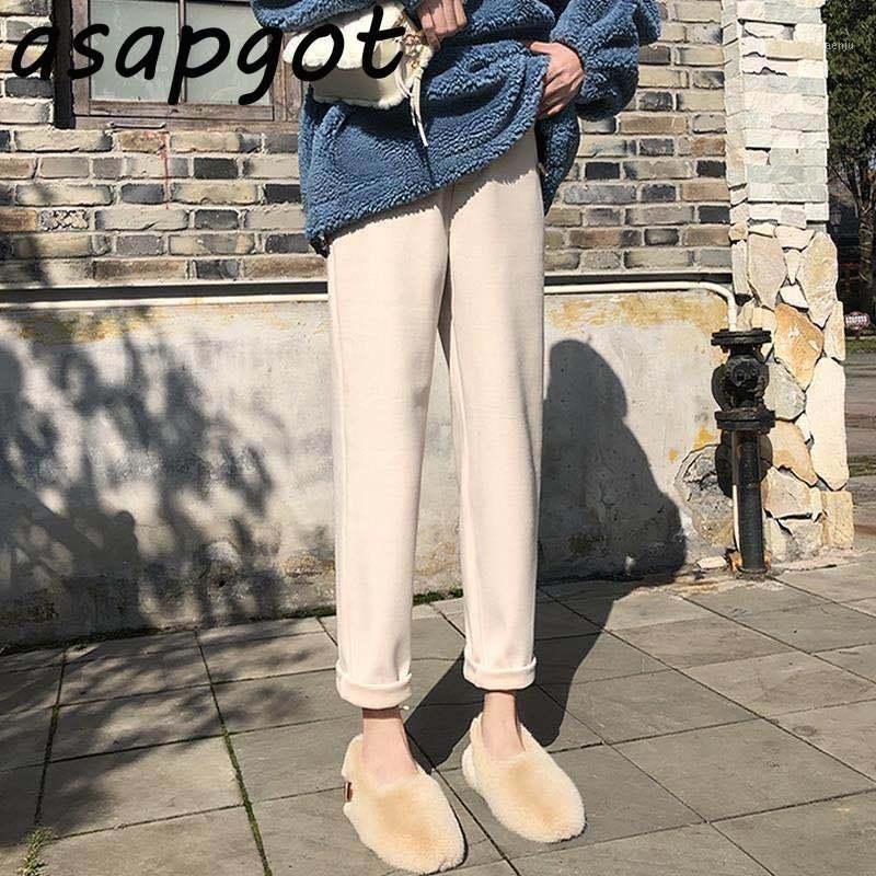 Women's Pants & Capris Korean Winter Wool Women High Waist Thick Harem Casual Trousers Female Autumn Warm Ankle-Length Plus Size1
