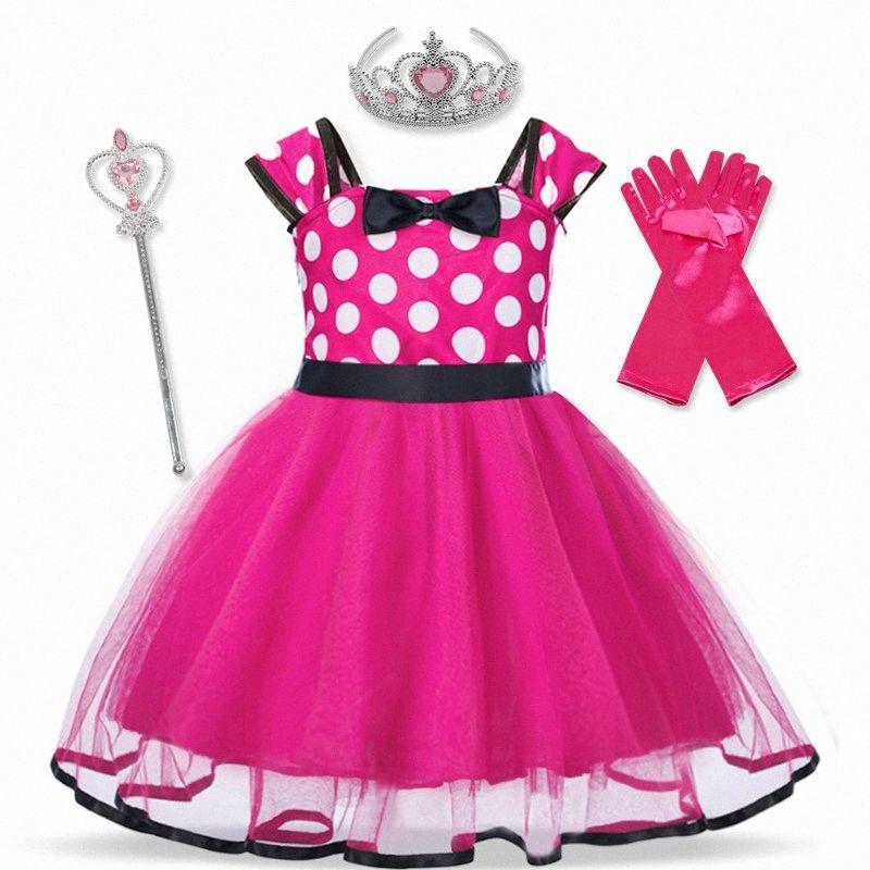 Baby-Weihnachtskleid des Mädchens Weihnachtskleid Kinder Kleines Mädchen des neuen Jahres Cotton Tupfen-Mädchen-Weihnachtsmann-Kostüm eqEn #