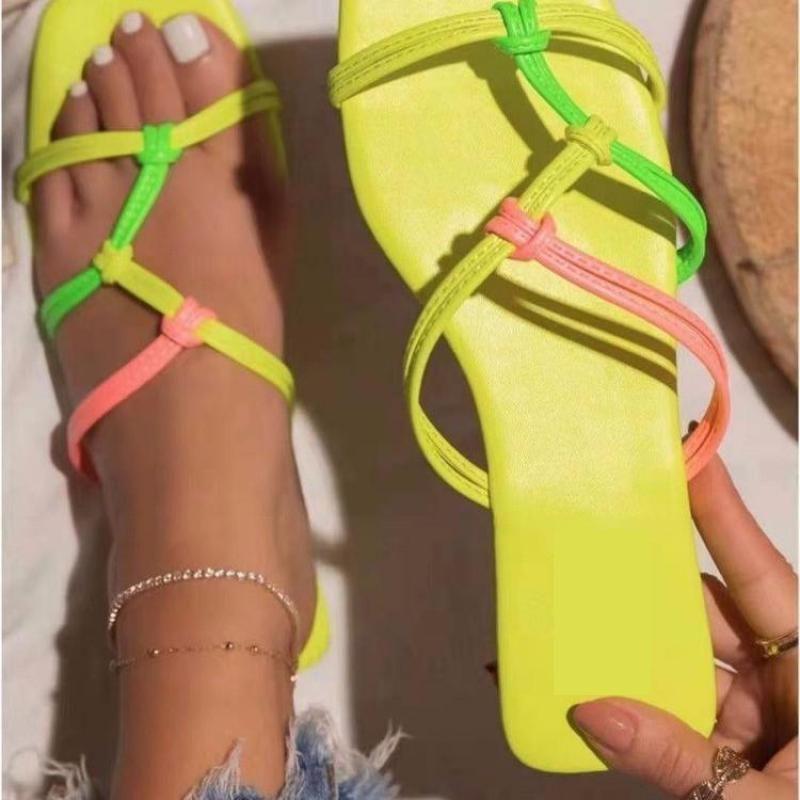 2021 Women Sandals Slippers Square Toe Slides Summer Fashion Design Ladies Size 35-43 Zapatillas Mujer Casa Flat C0128