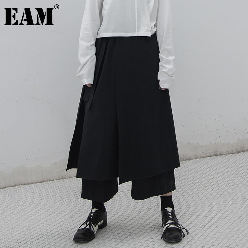 [EAM] High elástico na cintura assimétrica Temperamento recortada calças perna larga New Moda Mulher Tide Primavera Outono 2020 1DA763