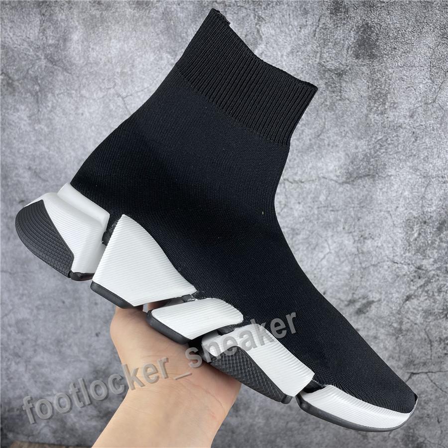 Männer Frauen Casual Schuhe Socke Schuhgeschwindigkeit 2.0 Sportgestrickte Stretch Turners Top Qualität Scarpe Race Chaussures Upgrade Schwarzer Oreo mit Box