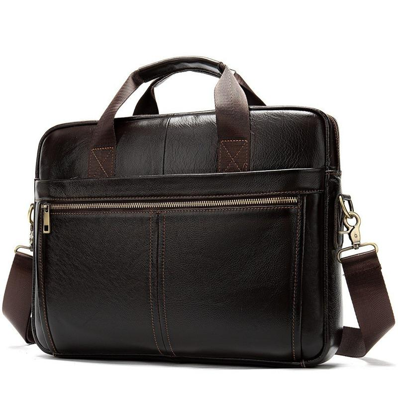 Briefcase Messenger Genuine Leather 14'' Laptop Bag Men's Briefcases Office Business Tote For Document NEW Q0112