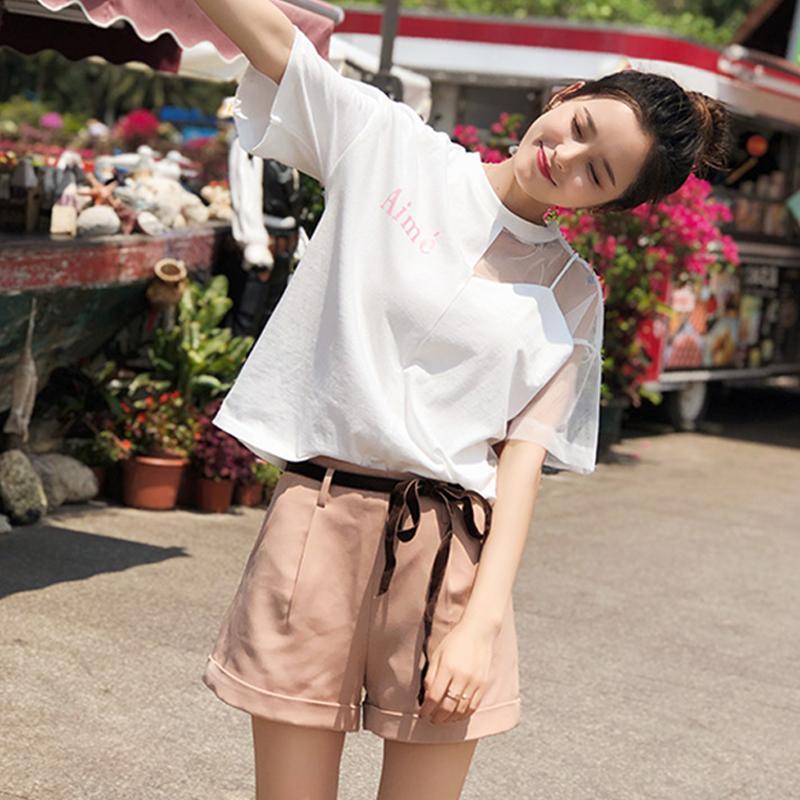 2020 stile coreano sexy della rappezzatura della maglia parti superiori di estate T-shirt collo rotondo manica corta Tee Shirt