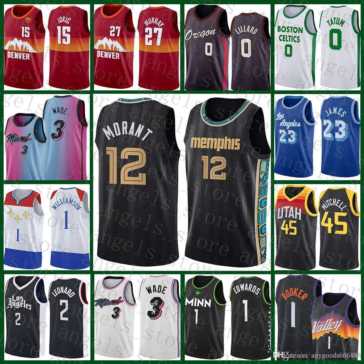 NCAA 2020 2021 Yeni Basketbol Jersey JA 12 Ahlaki MemphisGrizmaYeni Lebron 23 James Anthony 1 Edwards Devin 1 Booker