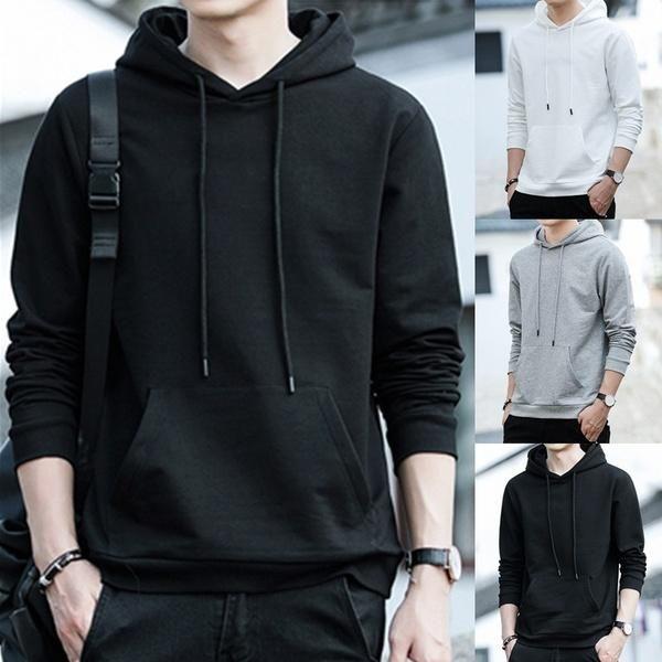 Uomo Felpe con cappuccio Solid Autunno Casual Cappuccio Hip Hop Sports Felpe Streetwear Manica lunga Plus Size Trucioli da maschio in pile caldo