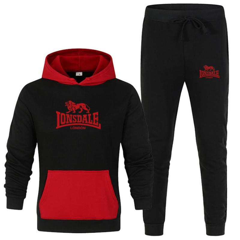 2020 europeus e americanos de esportes terno contrastando camisola cor ternos ocasionais do hoodie + calças masculinas sportswear conjunto de 2 peças Tamanho S-4XL