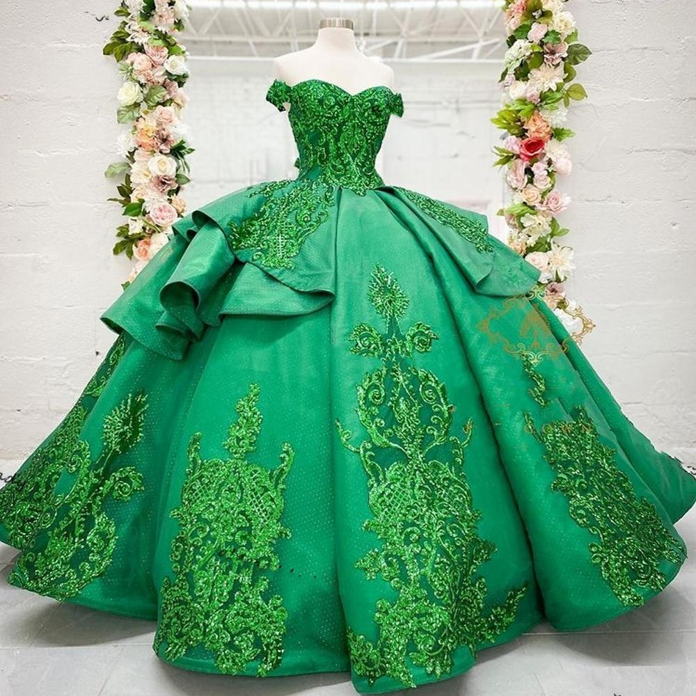 Koyu Yeşil Quinceanera Gelinlik Modelleri 2021 Kapalı Omuz Dantel Aplike Sequins Korse Parti Tatlı 16 Elbise Decoracion de Quinceanera