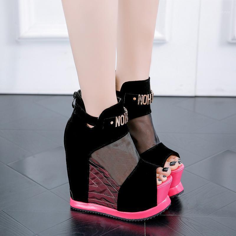 2020 летний клин каблуки сетки сандалии толщиной нижний сексуальный ночной клуб женские туфли с увеличением рыбы рта обувь1