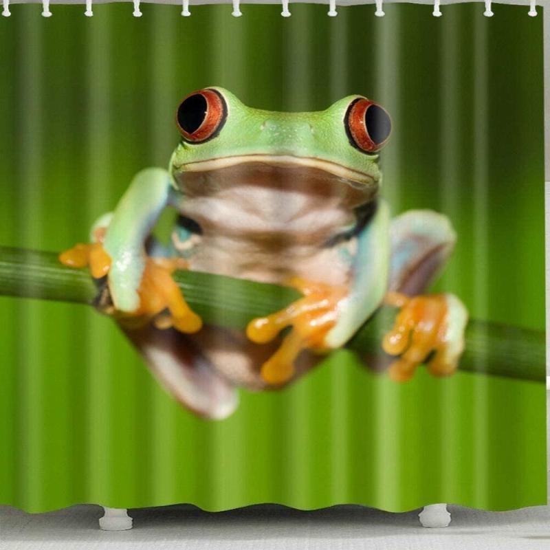 Frosch auf Baum Duschvorhang für Duschvorhang zu Hause und im Bad strapazierfähiges Stoffzubehör kreativ mit Haken 12 180x180cm