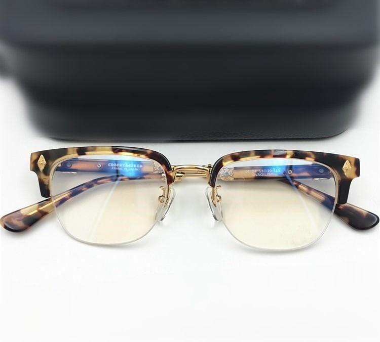 Moda homens quadros óptico óculos marca mulheres óculos quadros vintage metade quadro espetáculo quadro miopia óculos com caixa original