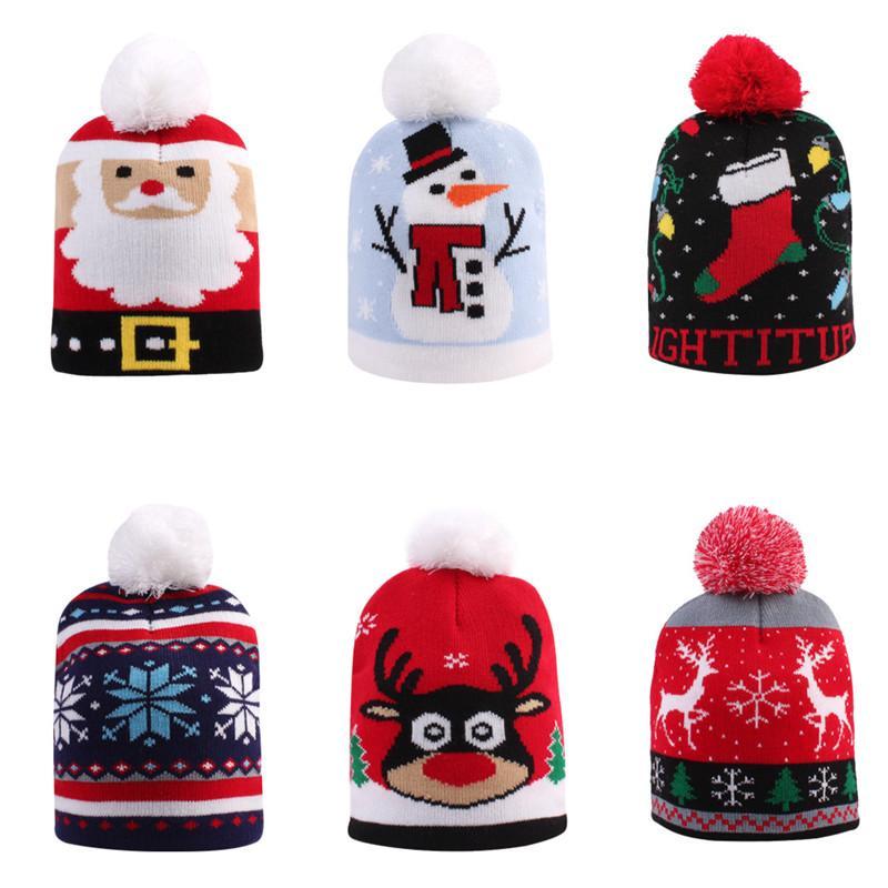 키즈 아기 엄마 겨울 따뜻한 비니 소프트 스트레치 케이블 니트 크리스마스 공 모자 여성 Skullies 비니 120pcs T1I2587