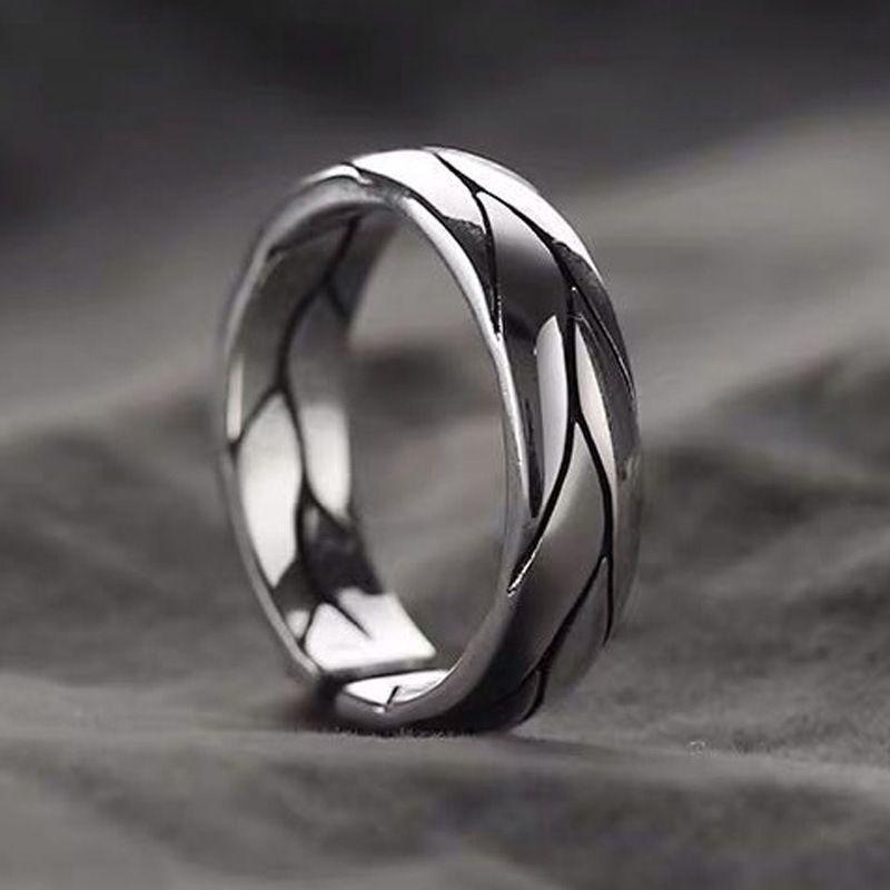 Anelli di linea scolpiti color argento alla moda per le donne Bridal Wedding Engagement Jedding Jedding Jedding Apertura anelli antichi antichi