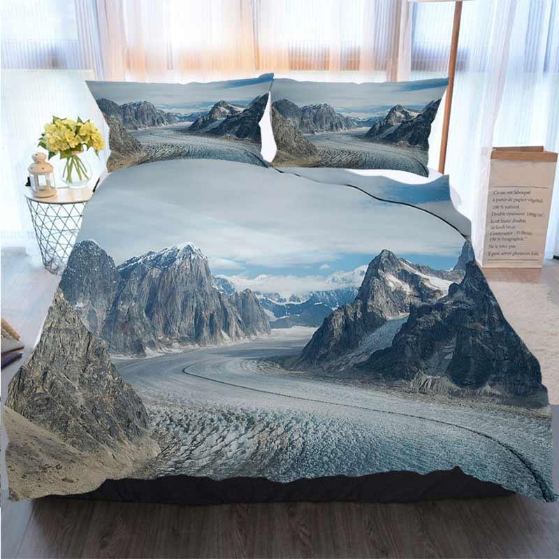 Buon Natale copripiumino Ghiacciaio In Denali (Monte McKinley) Quilt Bedding Sets Comforter Bedding