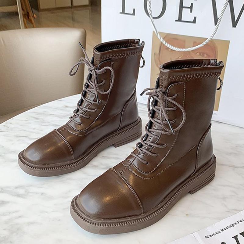 Botas de invierno de invierno 2021 mujeres tacones bajos tobillo piel cálida marrón negro encaje encaje arriba diseñador dama cuadrada dedo gótico zapatos góticos