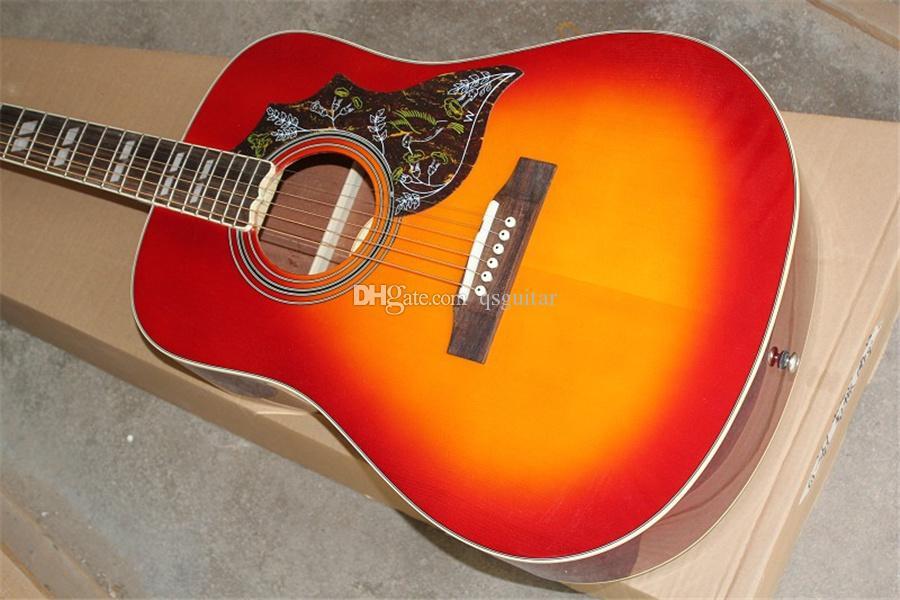 Ücretsiz kargo özel 41 inç Hummingbird Sunburst gitar, ahşap gitar, akçaağaç gövdesi, gülağacı siyah gövde