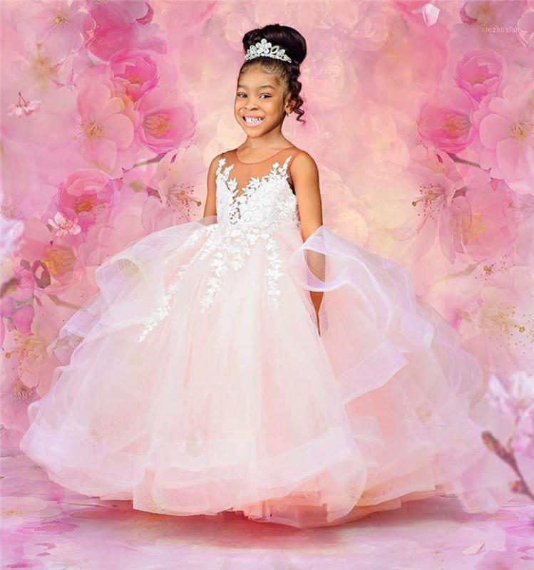 Realimage Puffy Tulle Boule Robe Petite Princesse Girls Robes pour une dentelle d'anniversaire Top petite fille Robes de fête de la fête Pageant