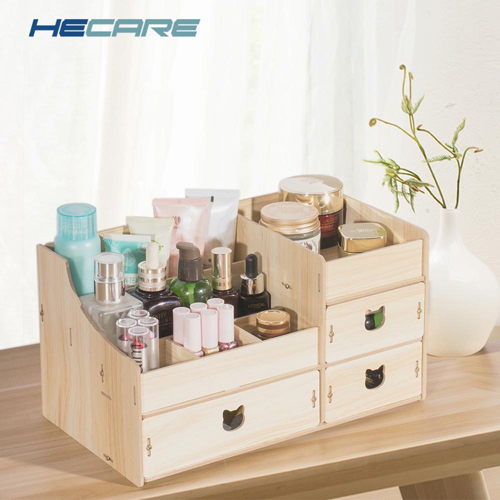Decorativo multi-funcional caixa de jóias de madeira DIY mesa de mesa organizador de contêiner de armazenamento para caixa de armazenamento de maquiagem cosmética Novo C0116
