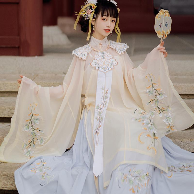 Bühne tragen Frau chinesische traditionelle Tanzkostüme Handgemachte bestickte Hanfu-Kleid Fee alte orientalische Art Ming-Dynastie-Set