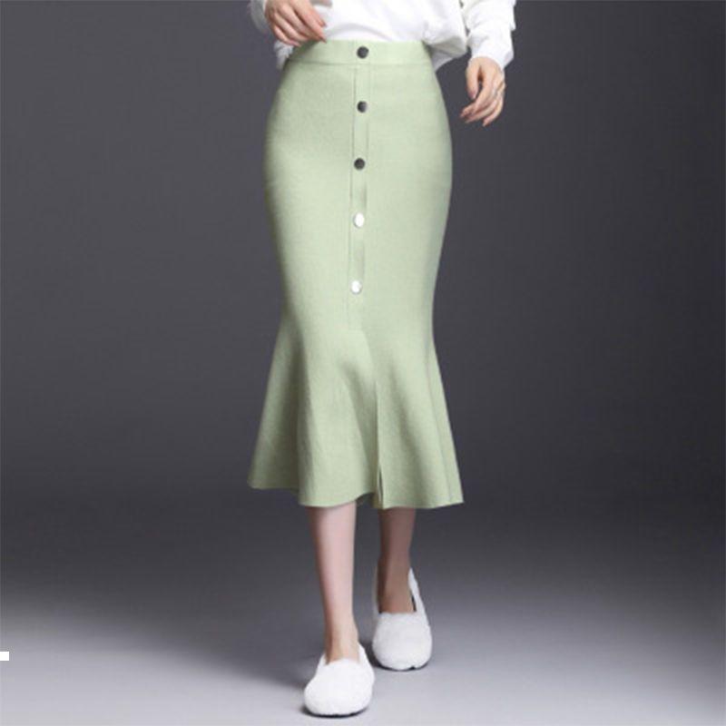 Kadın 2021 Yeni Sonbahar Kış Kazak Örme Kadın İnce Bayanlar Uzun Boylu Tek Göğüslü Etek Y325 Blom