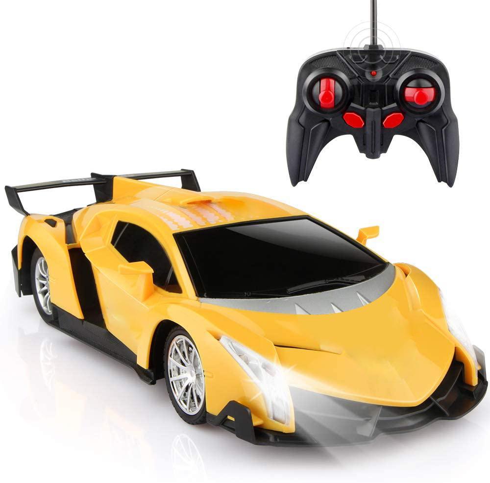 Hipac RC Cars Racing 1/24 elettrica da corsa di sport del giocattolo di hobby auto Giallo modello di veicolo a distanza Auto Telecomando per i ragazzi Grils bambini