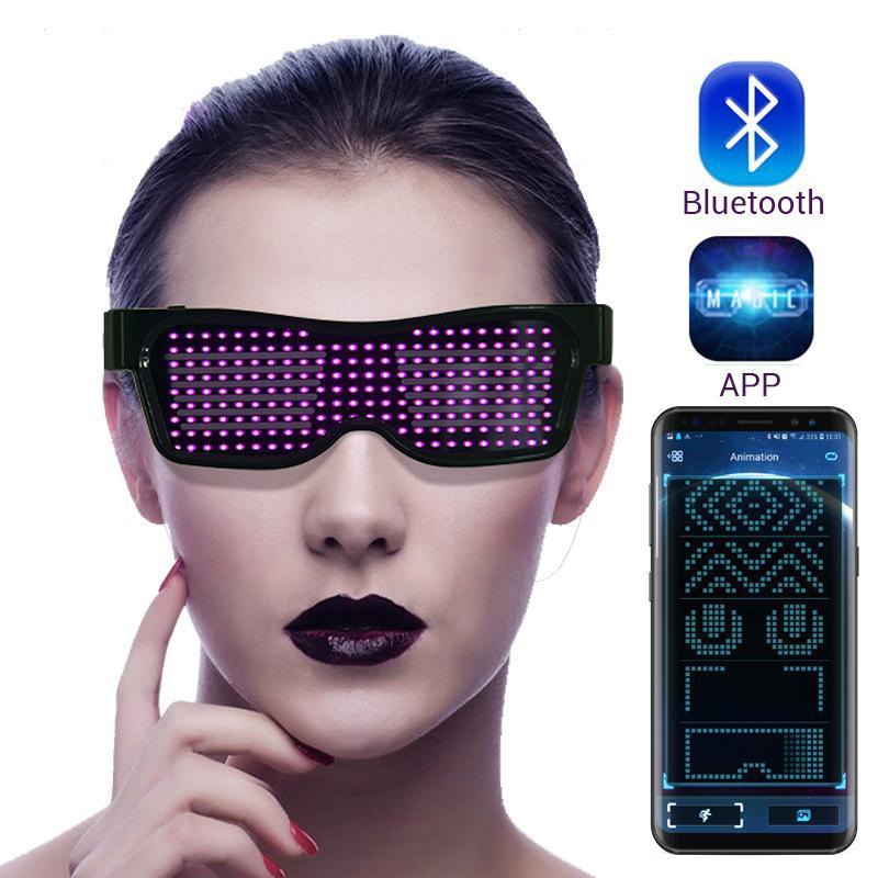 Led magique Bluetooth Party Lunettes APP Contrôle lumineux Lunettes EMD DJ électrique Syllabes Party Eye