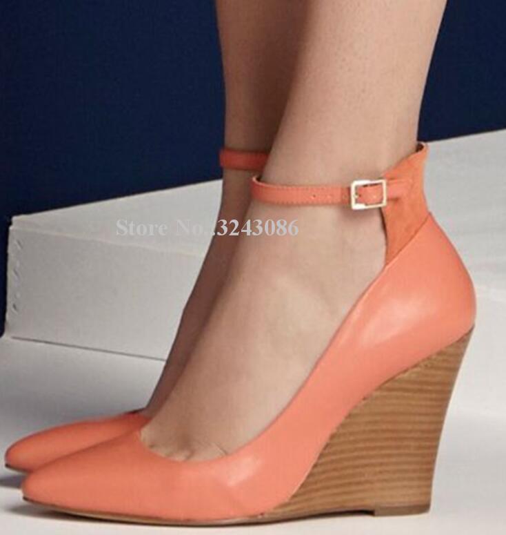 Платье обувь мода оранжевый кожаный клин насосы леди лоскутная лоскутная пряжка женщин сладкий одиночный реальный поз бросает