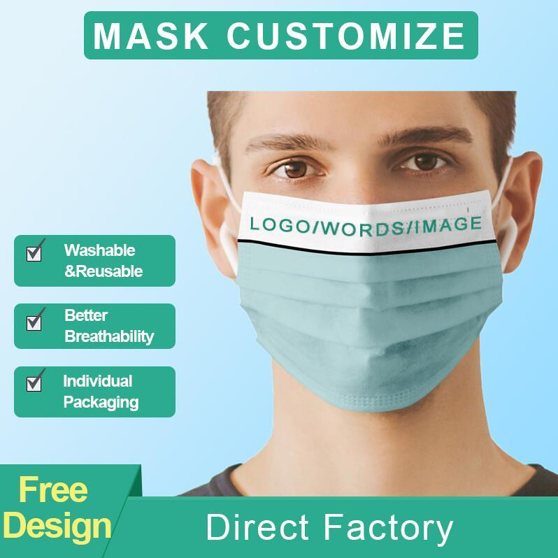 2021 US на заказ на заказ логотип маски лица маски моды дизайнеры взрослых детей анти пыль ветрозащитная партия маска для вечеринки моющийся многоразовый комфорт унисекс