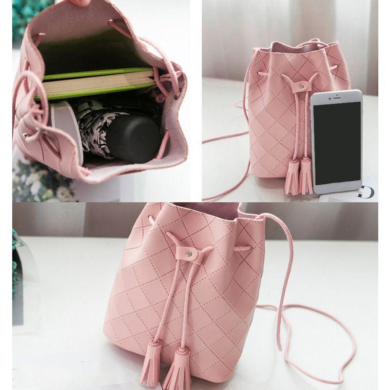 Mulheres Bucket Bag PU couro Tassels Drawstring bolsa menina Ombro Casual Messenger Bags PR Venda
